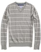 Tommy Hilfiger Vneck Stripe Sweater - Lyst