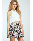 Forever 21 Rose Print Skater Skirt - Lyst