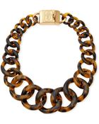 Tory Burch Monogram Tortoise Resin Chain Necklace - Lyst