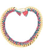Aurelie Bidermann Fuschia and Turquoise Wild Tropics Threaded Do Brasil Chain Necklace - Lyst