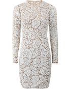 Michael Kors Lace Embroidered Long Dress - Lyst