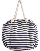 Stefanel Striped Canvas Bag - Lyst