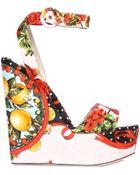 Dolce & Gabbana 150Mm Printed Silk Brocade Wedge Sandals - Lyst