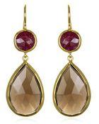 Margaret Elizabeth 2 Stone Drop Earrings, Ruby & Smokey Quartz - Lyst
