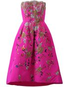 Oscar de la Renta Strapless Embroidered Dress - Lyst