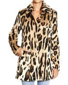 Armani Jeans Coat Eco Fur Leopard - Lyst