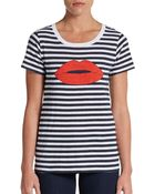 French Connection Striped Lipstick Tee - Lyst