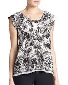 Rebecca Taylor Silk Floral-Print Top - Lyst