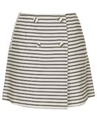 Topshop Petite Striped Button Wrap Skirt - Lyst