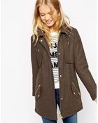 Asos Parka With Stitch Detail In Wool - Lyst