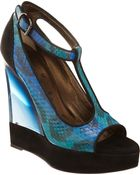 Lanvin Snakeskin T-strap Wedge Sandal - Lyst