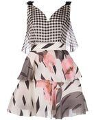 Delpozo Gingham Floral Dress - Lyst