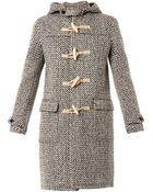 Saint Laurent Tweed Duffle Coat - Lyst