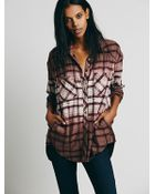 Free People Womens Dip Dye Plaid Buttondown - Lyst
