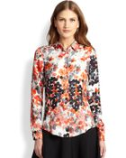 RED Valentino Silk Abstract-Floral Blouse - Lyst