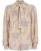 Michael Kors Floral Pussy Bow Blouse - Lyst