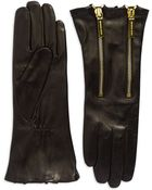 Michael Kors Double Zip Leather Gloves - Lyst