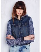 Free People Knit Hooded Denim Jacket - Lyst
