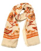 Gucci Beige And Orange Paisley Printed Wool And Silk Scarf - Lyst
