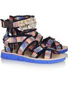 MSGM Embellished Printed Twill Sandals - Lyst