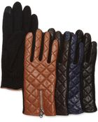 Lauren by Ralph Lauren Hybrid Leather Quilted Tech Gloves - Lyst