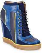 L.a.m.b. Summer Snake-Embossed Leather Sneaker Wedges/Navy & Yellow - Lyst