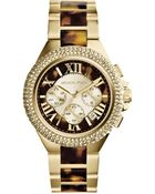 Michael Kors Midsize Goldentortoise Stainless Steel Camille Chronograph Glitz Watch - Lyst
