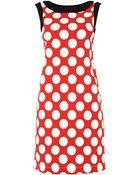 Love Moschino Sleevless Polka Dot Contrast Trim Dress - Lyst