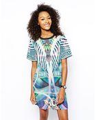 Monki Sci Fi Print T-Shirt Dress - Lyst