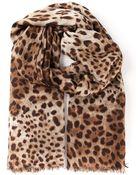 Dolce & Gabbana Leopard Print Scarf - Lyst