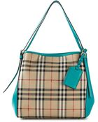 Burberry Horseferry-Check Leather-Trimmed Tote - Lyst