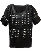 Avelon Perforated Leather Top - Lyst