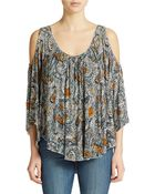 Free People Printed Cold Shoulder Top - Lyst