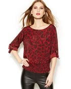 Michael Kors Michael Roll-Tab-Sleeve Printed Top - Lyst
