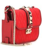 Valentino Lock Small Jacquard and Leather Shoulder Bag - Lyst