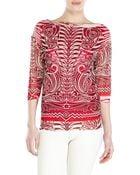 Jean Paul Gaultier Soleil Red Printed Mesh Top - Lyst