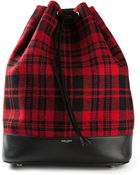 Saint Laurent Plaid Bucket Bag - Lyst