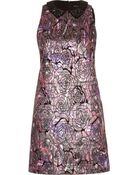 River Island Dark Print Metallic Jacquard Shift Dress - Lyst