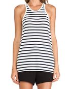 T By Alexander Wang Stripe Linen Cotton Tank - Lyst