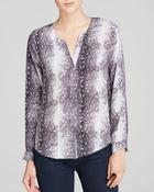 Joie Moema Silk Printed V-Neck Top - Lyst