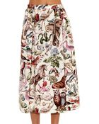 Valentino Animal-Print Cotton Skirt - Lyst