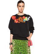 Christopher Kane Floral Motif Cotton Sweatshirt - Lyst