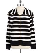 Calvin Klein Striped Zip Up Sweatshirt - Lyst