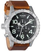 Nixon Black Saddle Leather 51-30 Chrono Watch - Lyst