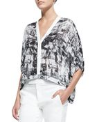 Helmut Lang Printed Lightweight Cropped Blouse - Lyst