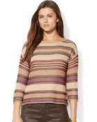 Lauren Jeans Co.  Three Quarter Sleeve Striped Sweater - Lyst