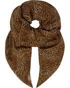 Saint Laurent Leopard-Print Cashmere-Silk Scarf - Lyst