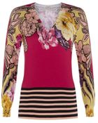 Etro Floral V-Neck Sweater - Lyst
