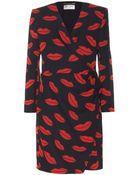 Saint Laurent Silk-Crepe Printed Dress - Lyst
