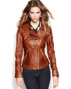 Guess Asymmetrical Zip-Front Leather Jacket - Lyst